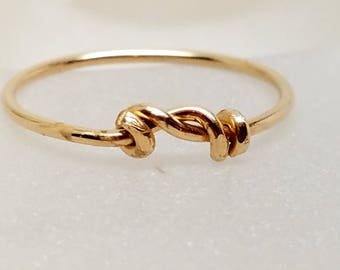 Knot an Ordinary Kind of Love Shibari Themed Gold Fill Knot Ring 6.25