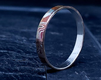 Mokume Gane Sterling & Copper 3 MM Hand Forged Rustic Look Stacking Ring