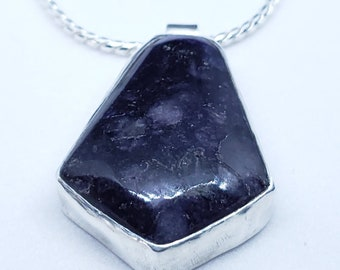 "Midnight Purple Sugilite Shield Shape Pendant on Sterling Silver Snake Chain 16"" Hand Crafted Sterling Bezel"