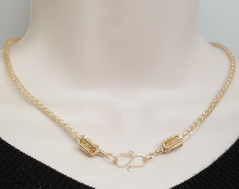 "17,75"" Handwoven14kt Goldfilled Trichinopoly AKA Viking Knit chain."