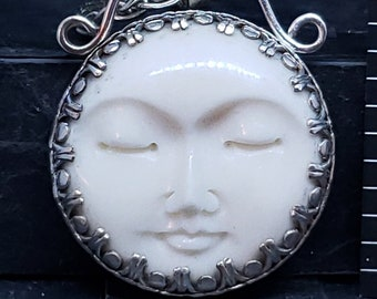 Carved Bone Sleeping Moon Face Reversible Sterling Pendant Hand Woven Texture 31MM on Wheat Chain