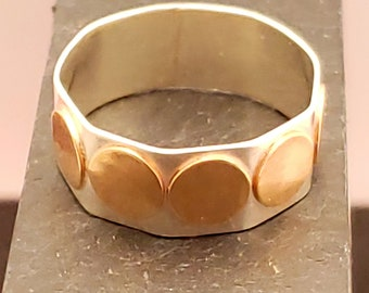 Sterling & 14kt Gold 7.5 MM Hand Forged Geometry Ring