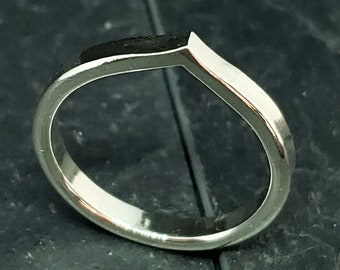 2.82 MM Hand Forged Teardrop Band Ring Sterling Silver
