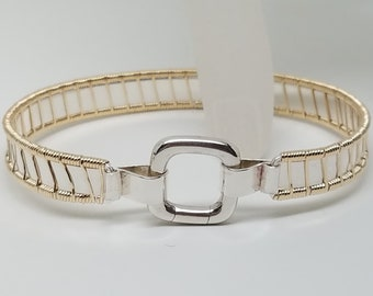 "Super Discreet Slave Cuff Bracelet, 6.5"" Hand Woven 14kt Goldfilled and Sterling Silver with Square Spring Gate Style Clasp"