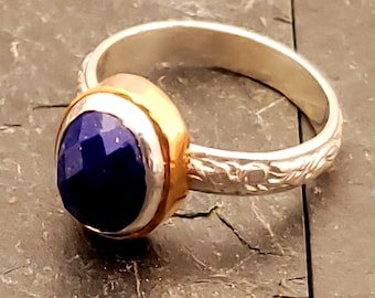 Lapis Lazuli Solitaire Promise Ring Sterling with 14 kt gold Fill bezel Accent