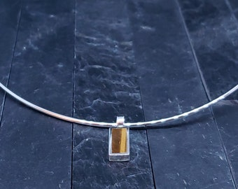 Tiger Eye, Discreet Day Collar. Public Wear BDSM, Sterling Silver, Submissive Choker, Gift for Women, Neck Wire Choker, Nickle Free Collar