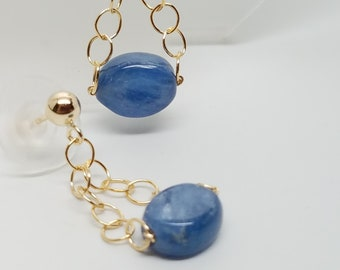 Kyanite and Gold Fill Dangling Stud Type Earrings