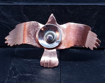 5mm Wide Band Sterling Silver and Copper Raven in Flight Statement Ring