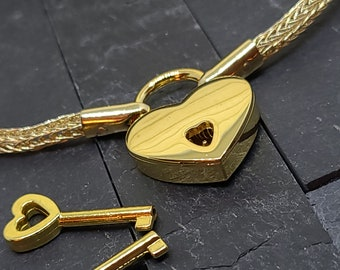 """16"""" Handwoven14kt Gold-filled Trichinopoly AKA Viking Knit chain with 14kt gold vermeille end caps and a working gold tone heart padlock"""