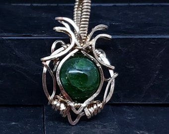 Chrome Diopside Wire Sculpted Pendant 14 KT Gold-filled based on ZD Artisan's DEVI Tutorial