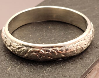 Leaf Vine & Bud Patterend Wire Sterling Silver Wedding Band Promise Ring