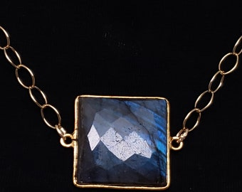 14kt Gold Fill Chain with Gold Vermeille Framed Blue Flash Labradorite Necklace