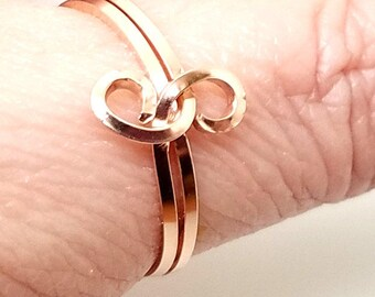 Knot an Ordinary Kind of Love Shibari Themed Rose Gold Fill Knot Ring 9.25