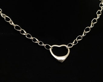 Slave Collar 7.3mm Diamond Cut Twist Curb Chain with Solid Sterling Silver Open Heart Clasp