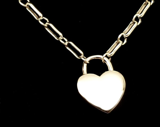 Featured listing image: Discreet Slave Collar Heavy, 6.1mm Long Short Chain with Solid Sterling Silver Working Heart Padlock