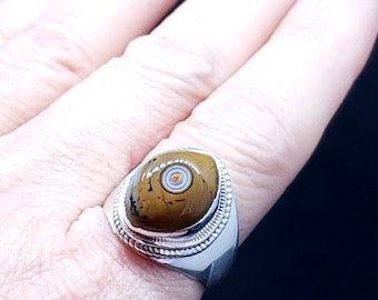 Vintage Heavy Sterling Silver and Orbicular Jasper Ring Size 8