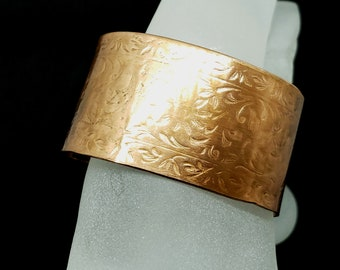 1.5 inch wide Heavy Copper Bangle with Embossed Floral Pattern Patina and Protective Coating