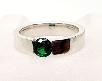 Emerald Cubic  Zirconia 4mm Heavy Sterling Silver Band Tension Set Solitaire Hand Forged
