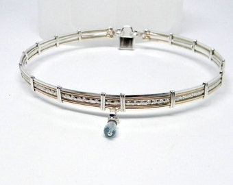 MADE TO ORDER Limited Edition Swiss Blue Topaz Sterling Silver and 14kt Gold Fill Wire Day Collar