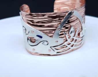 DAI Inspired Dalish Tattoo and Wolves Motif- Unisex Cuff style Copper & Sterling Silver Cuff Bracelet Approximately 1.5 Inches wide