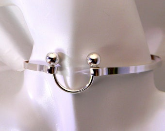 Made To Order - Discreet Drama Sterling Silver Slave Collar with Horse Shoe Focal Clasp