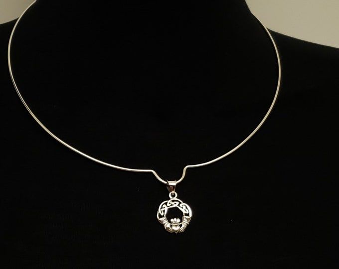 Featured listing image: Discreet Slave Collar Sterling Silver U Circlet with Sterling Celtic Irish Lovers Claddah Pendant and Sterling Heart Clasp