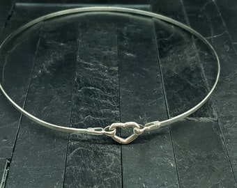 Discreet Slave Collar Sterling Silver With Carabiner Style Heart Clasp Ideal for Public Day Wear