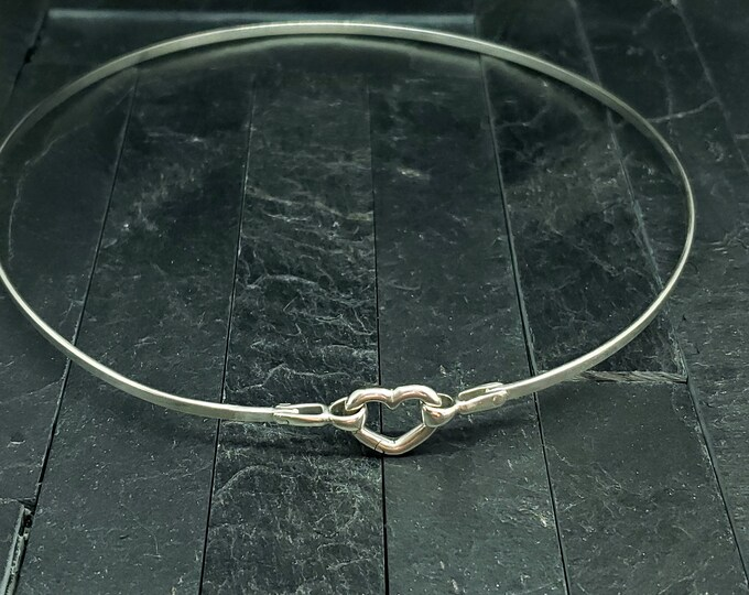 Featured listing image: Discreet Slave Collar Sterling Silver With Carabiner Style Heart Clasp Ideal for Public Day Wear