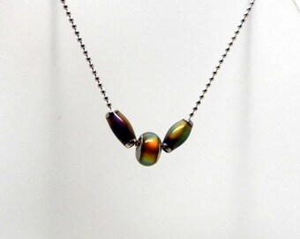 Limited Edition Holidays 2015 Color Changing Worry Bead Necklace on Stainless Steel Bead Chain