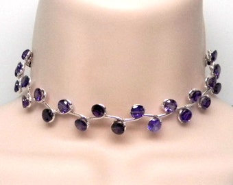 Discreet Slave Collar Amethyst Cubic Zircona Vine Motif Sterling Silver for Day or Public Wear Adjustable from 12 to 14.75""