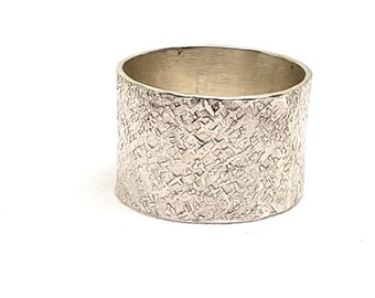 12.5 MM Hand Forged Wide Band Ring - Raw Silk Hammer Textured Band