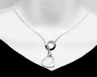 Made To Order Lariat Style Symbolic Slave Necklace Sterling Silver with Solid Sterling Open Heart Pendant clasp.