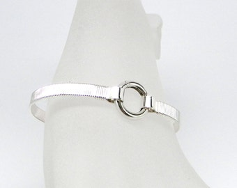 Made-To-Size Unisex Sterling Silver Rib Textured Symbolic Sterling Silver Slave Cuff with Sterling Silver Clasp