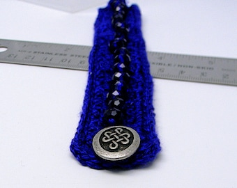 Cobalt Blue Crocheted Silk Cuff Bracelet with Swarovski Crystal Elements and Celtic Knot Button Closure