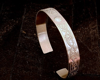 Celtic Knotwork Cuff Bracel9mm Wide Embossed Sterling Silver 6.5 Inches