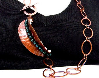 Fold Formed Copper Art Pendant with Freshwater Pearls and Chunky Copper Chain