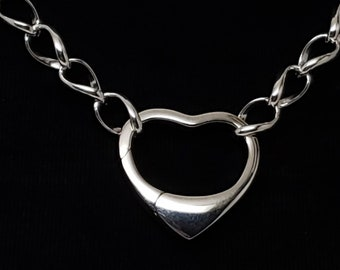 Open Heart Carabiner Clasp 925 Sterling silver 23mm wide by 20mm tall