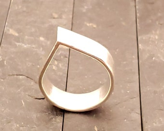 7.8 MM Hand Forged Teardrop Band Ring Sterling Silver