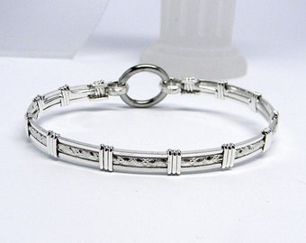 Made-To-Order Textured Center-Line Motif Slave Collar Alternative sterling silver Slave Bracelet