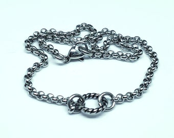 Discreet Slave Anklet Stainless Steel Twisted O Symbolic Slave Collar On Oval Cable Chain With Stainless Clasp