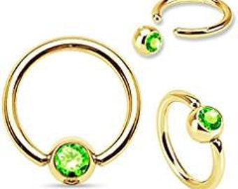 Captive Bead Body Jewelry with Green CZ 14g 1/2 inch Gold Plated over Surgical Stainless Steel Intimate Jewelry