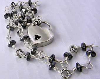 Made To Order Locking Handmade Hematite & Sterling Silver Chain Slave Collar with Polished Nickel Heart Padlock