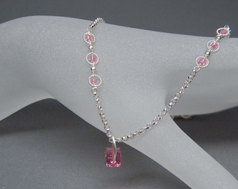 "Ultra Petite 15"" Pretty in Pink Sterling Silver necklace with Swarovski Crystal Elements Cube Pendant and pink bead accents"