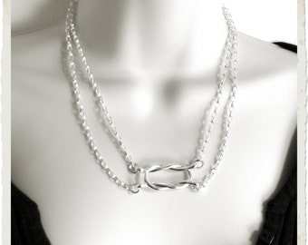 Knot an Ordinary Kind of Love Shibari Themed Sterling Silver Slave Collar Made To Size Subtle Day Choker, Wire Knot, Submissive Gift Jewelry