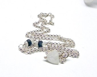 Rainbow Moonstone and Sapphire Accented Sterling Sliver Chain Necklace