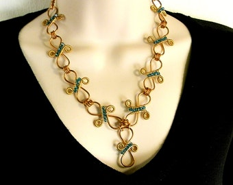 Y-Shaped Necklace, Hand Forged Copper Infinity Swirl Links, with Teal Blue Swarovski Crystal Accents