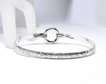Made-to-Order Better Part of Valor 6 Textured Sterling Silver Slave Cuff with Sterling Silver Spring Gate O Clasp