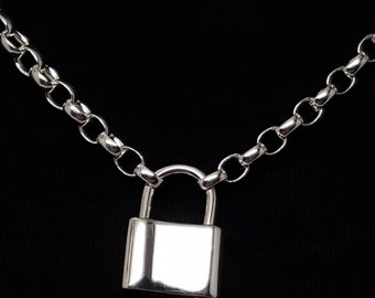Heavy Sterling Silver 0val (5mm x 3.5mm) Rolo Chain, Discreet Symbolic Slave Collar with 15mm Wide Sterling Faux Padlock