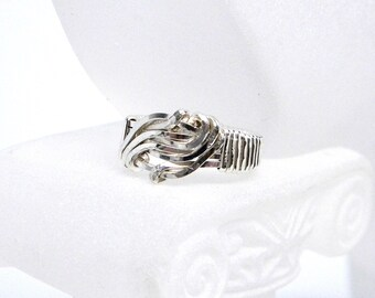 Ebb Tide Waveform Sterling Silver Wire Sculpted Ring