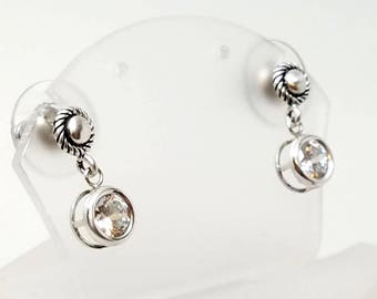 Classic sterling Silver Button Stud Earrings with 6mm CZ Drops and Wide Backed Ear Nuts